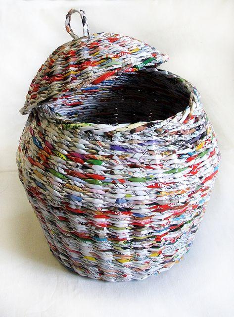 newspaper basket koszyk z gazety k rol recycling pinterest