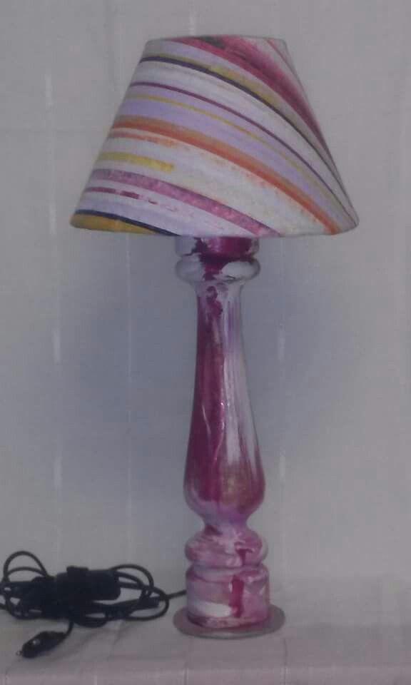 "Lampada ""big rose""olio su tela e legno dipinto h. cm 50"