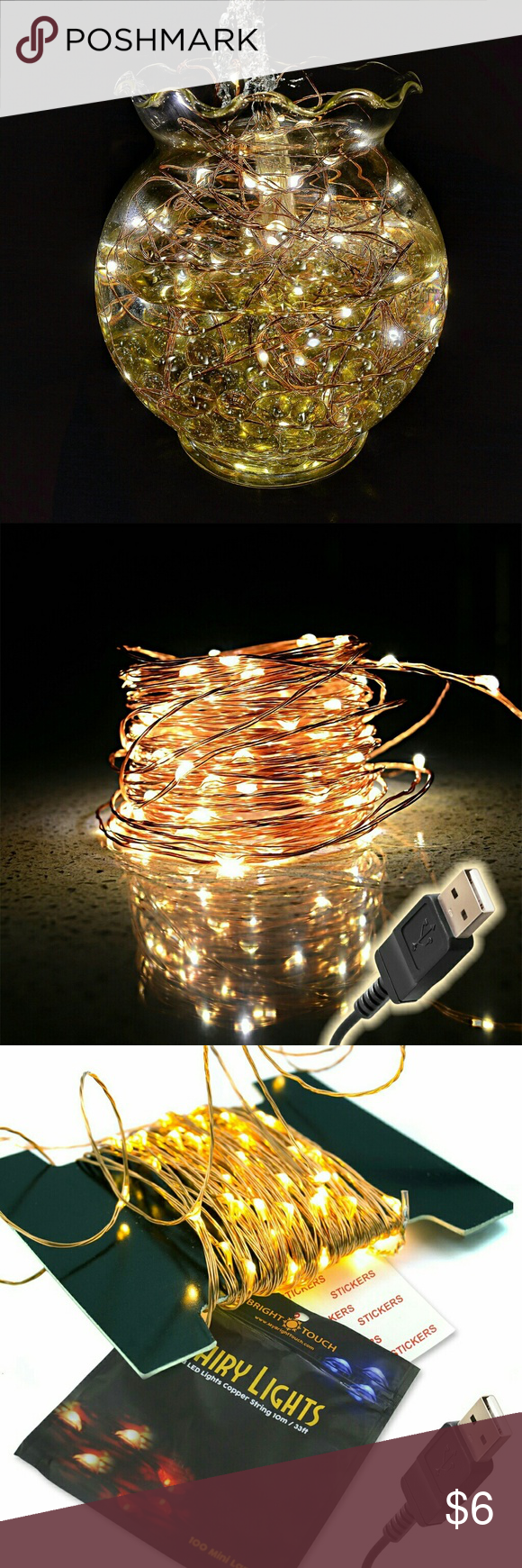 Fairy Lights Warm White USB Powered Beautiful NO MORE BATTERIES OR HOPES FOR SUN! With simple USB connector, plug it anywhere: wall, computer, power bank, etc. Decorate bedroom, wedding, Christmas tree  STURDY COPPER WIRE WILL NEVER BREAK OR SHORT. The power adapter cord is 90 inches before the start of the 33 foot light strand wire.  SAFE FOR CHILDREN AND FURRY FRIENDS TO PLAY AND TOUCH - lights never get hot. Use these just about anywhere, from Christmas trees to window sills, and anywhere…