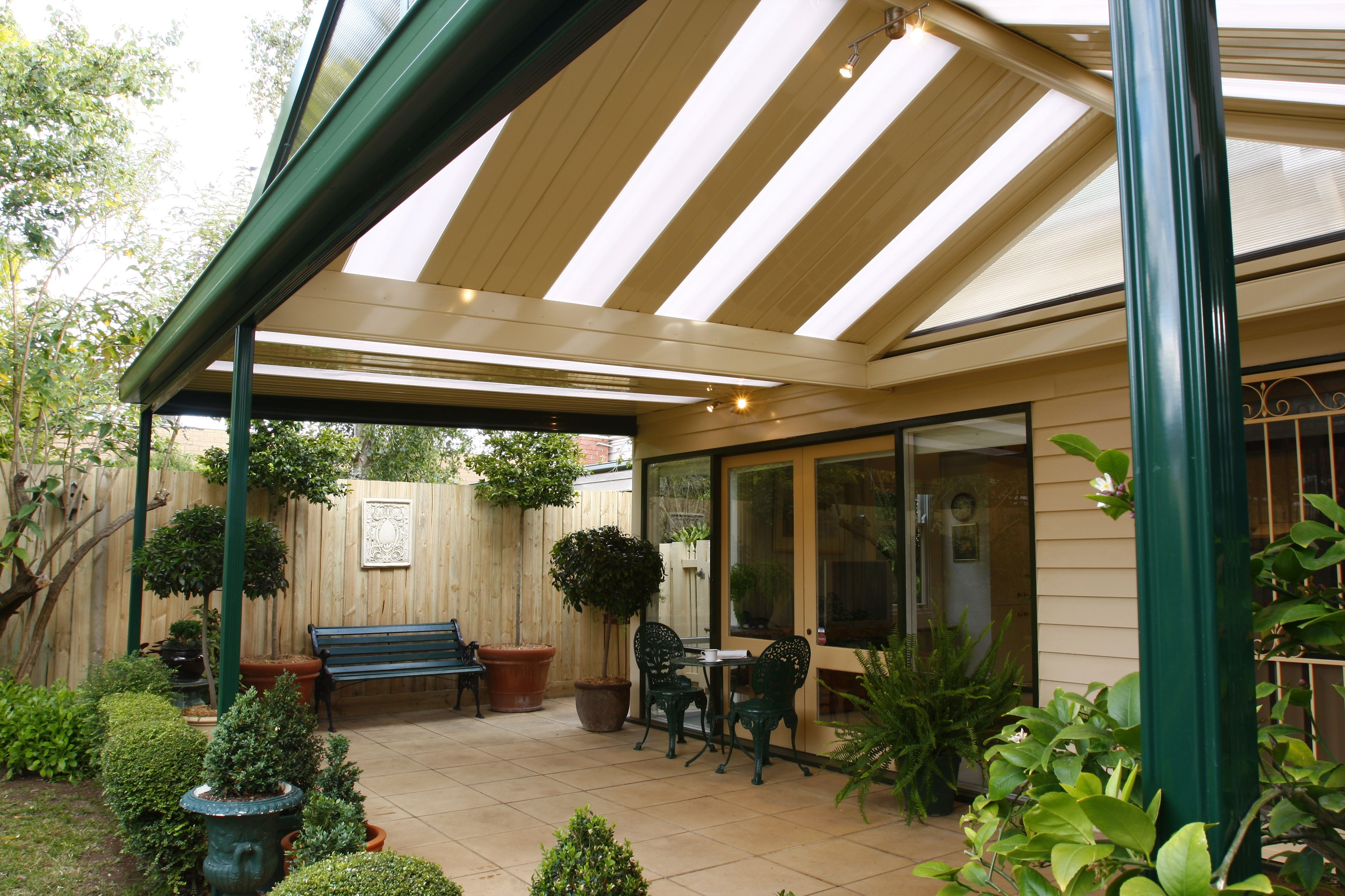 Verandah featuring colorbond frame and roofing with for Colorbond home designs