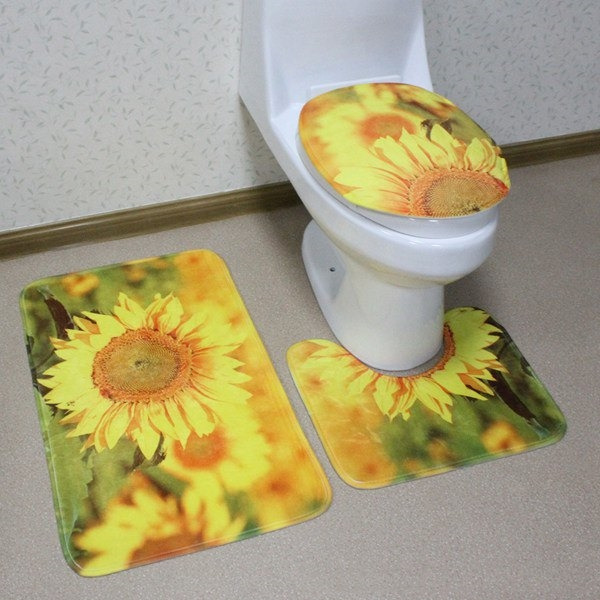 15.49$  Buy here - http://did60.justgood.pw/go.php?t=206154201 - 3Pcs Sunflower Antislip Toilet U Shape Rug Lid Cover Carpet Set