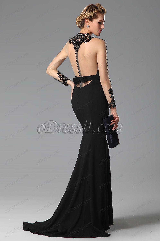 High neck back bowknot slit black evening gown evening