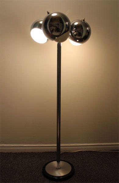 MID CENTURY MODERN VINTAGE ADJUSTABLE CHROME 3 EYEBALL FLOOR LAMP ...
