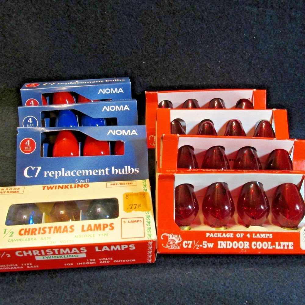 Lot C7 1/2 & C7 Christmas Light Bulbs Opaque/Clear Noma TrimATree ...
