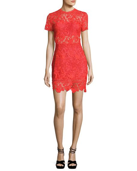 5c17939f9b7f Mon Amour Short-Sleeve Fitted Lace Mini Dress Red | Fashion ...