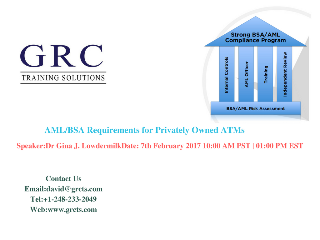 This session highlights understanding and mitigating the risks of POATMs that are being acknowledged and recognized by regulators and examiners.  In this webinar, we will discuss the areas that regulators and examiners are primarily focusing on in regards to POATMs. The areas of focus outlined in this webinar are based on best industry practices and supervisory experience.For More Details:  Email: david@grcts.com Tel: +1-248-233-2049 Web: www.grcts.com