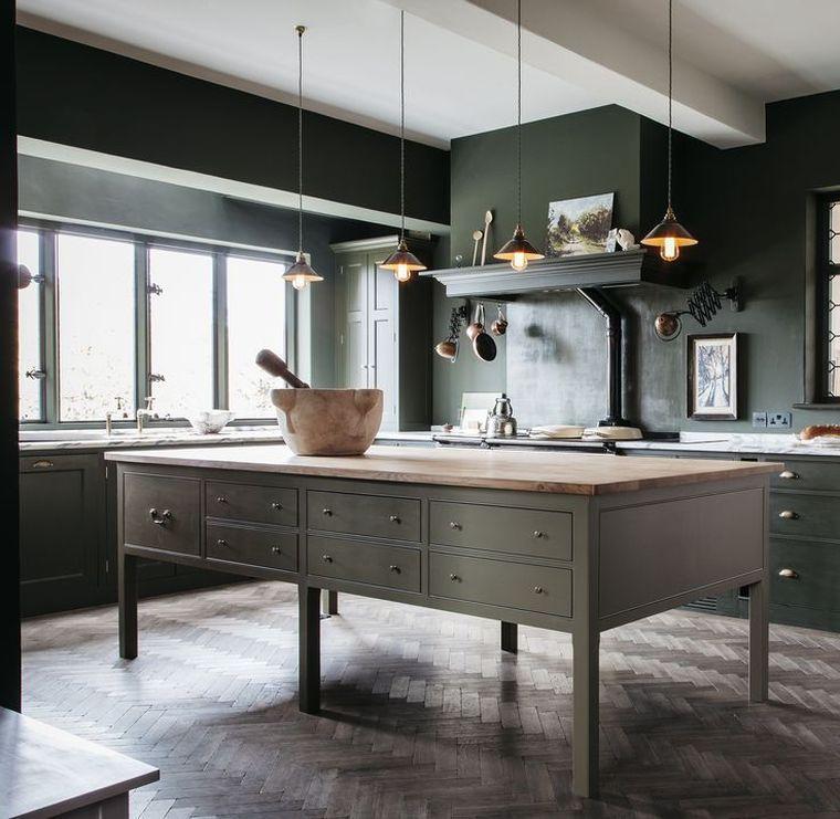 Cuisine Cottage Anglais Deco Ilot Central Suspensions
