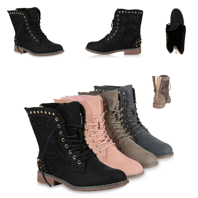 Damen Stiefeletten Worker Boots Spitze Stiefel 75319 Schuhe