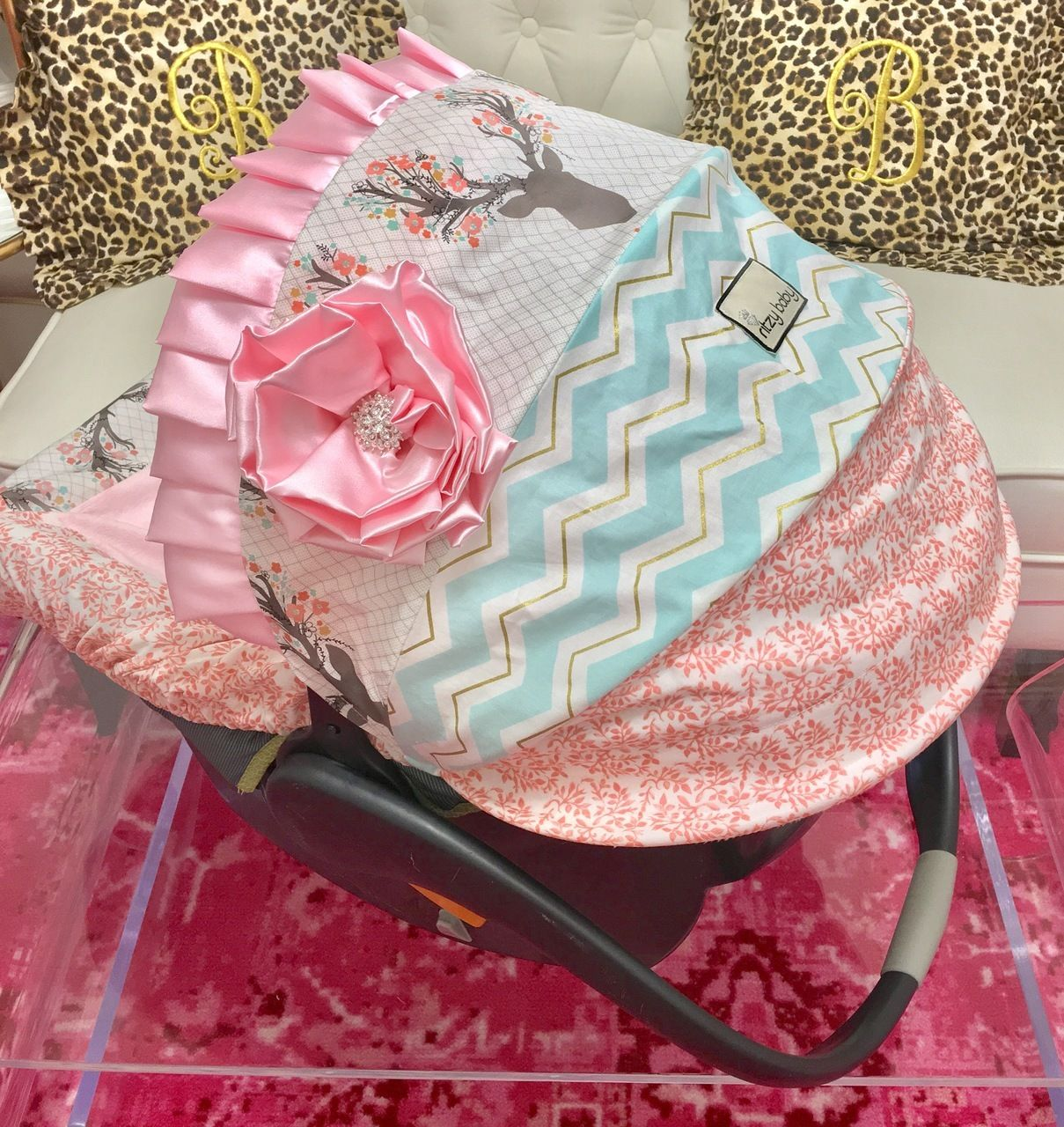 Girly Stag, Mint, Coral, and Baby Pink Infant Car Seat Cover | Mint ...