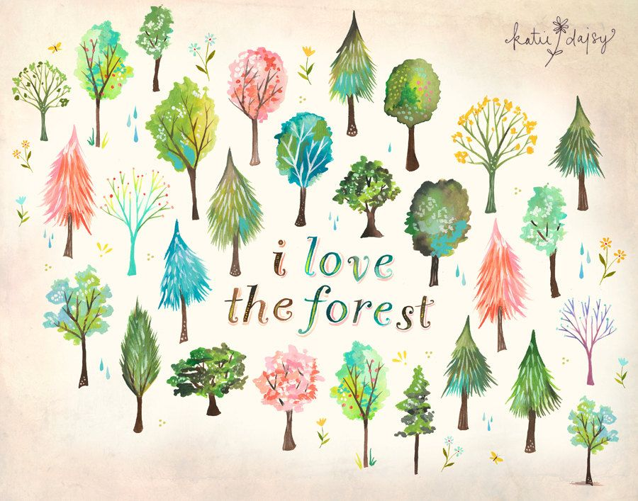 I Love The Forest Art Print Watercolor Quote Nature