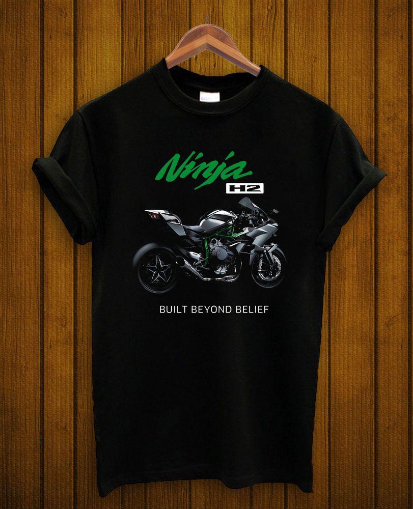 c51723a0a140 kawasaki ninja T shirt motor cycle logo printed H2 racing new men black  S,M,L,XL #handmade #ShortSleeve