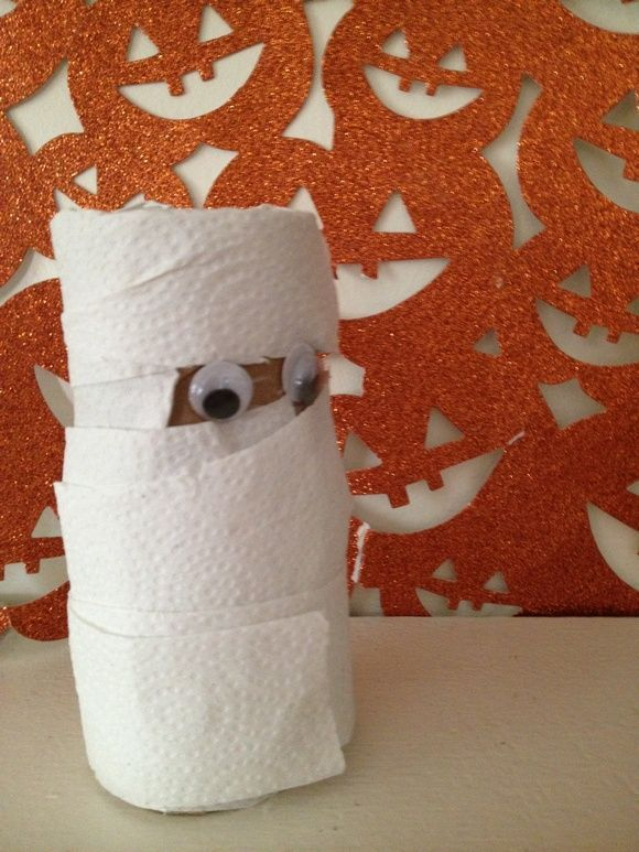 Halloween Crafts for Kids Repurposed Toilet Paper Roll Mummy - easy homemade halloween decorations for kids