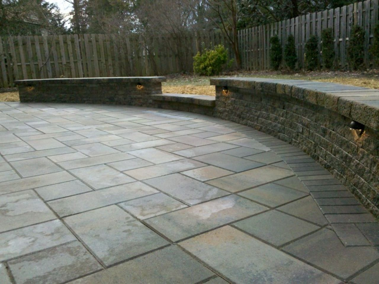 Stone Wall Around Top Of Driveway Home Outdoor Patio