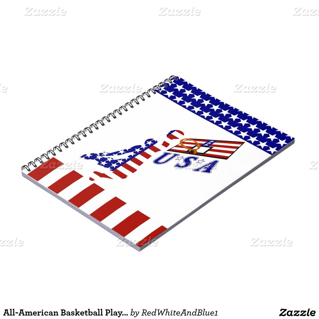 All-American #Basketball Player Notebook #Sports4you #RedWhiteAndBlue1 #Gravityx9