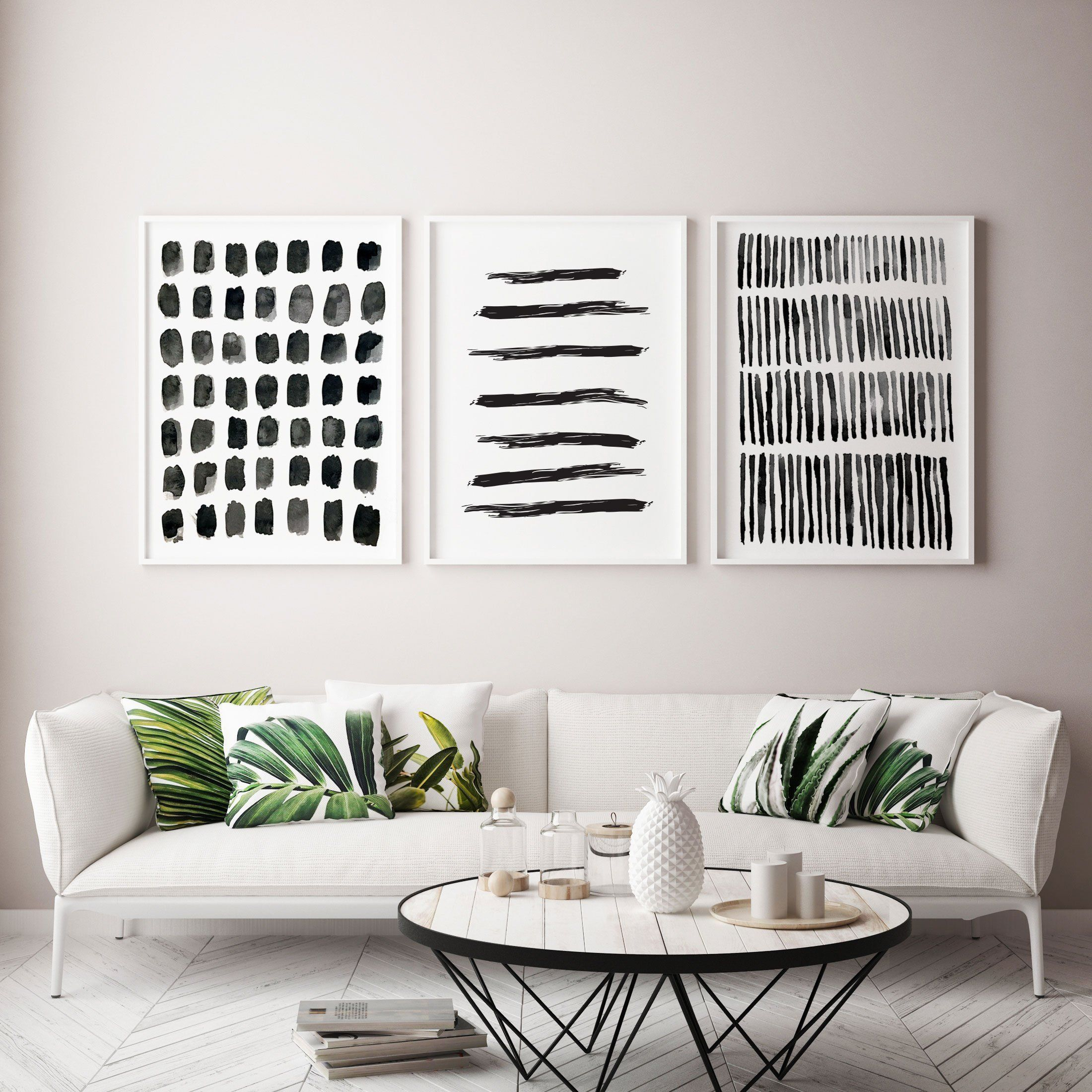 Photo of Scandinavian Art abstract watercolour print BUNDLE, Minimalist Print, Contemporary Home Decor, Abstract Art Poster, living room black  white