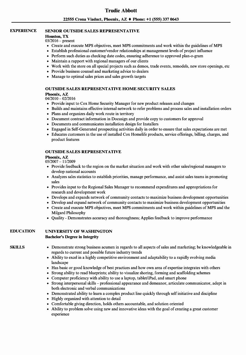 Sales Representative Resume Example Inspirational Outside