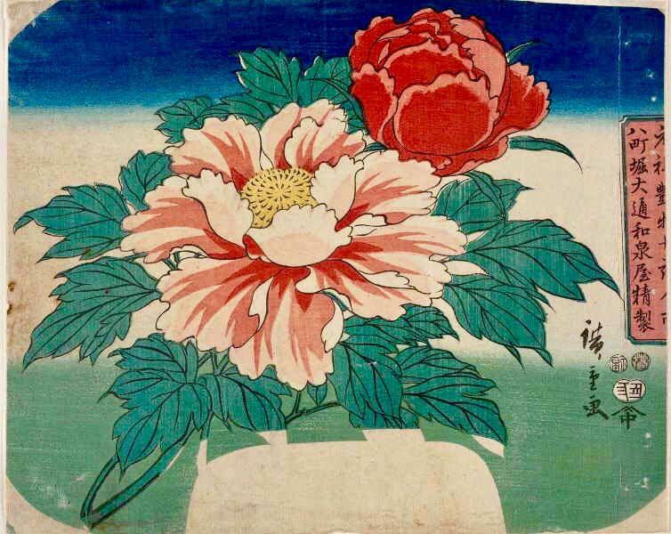utagawa hiroshige 団扇絵 牡丹 日本美術 絵 花 描き方