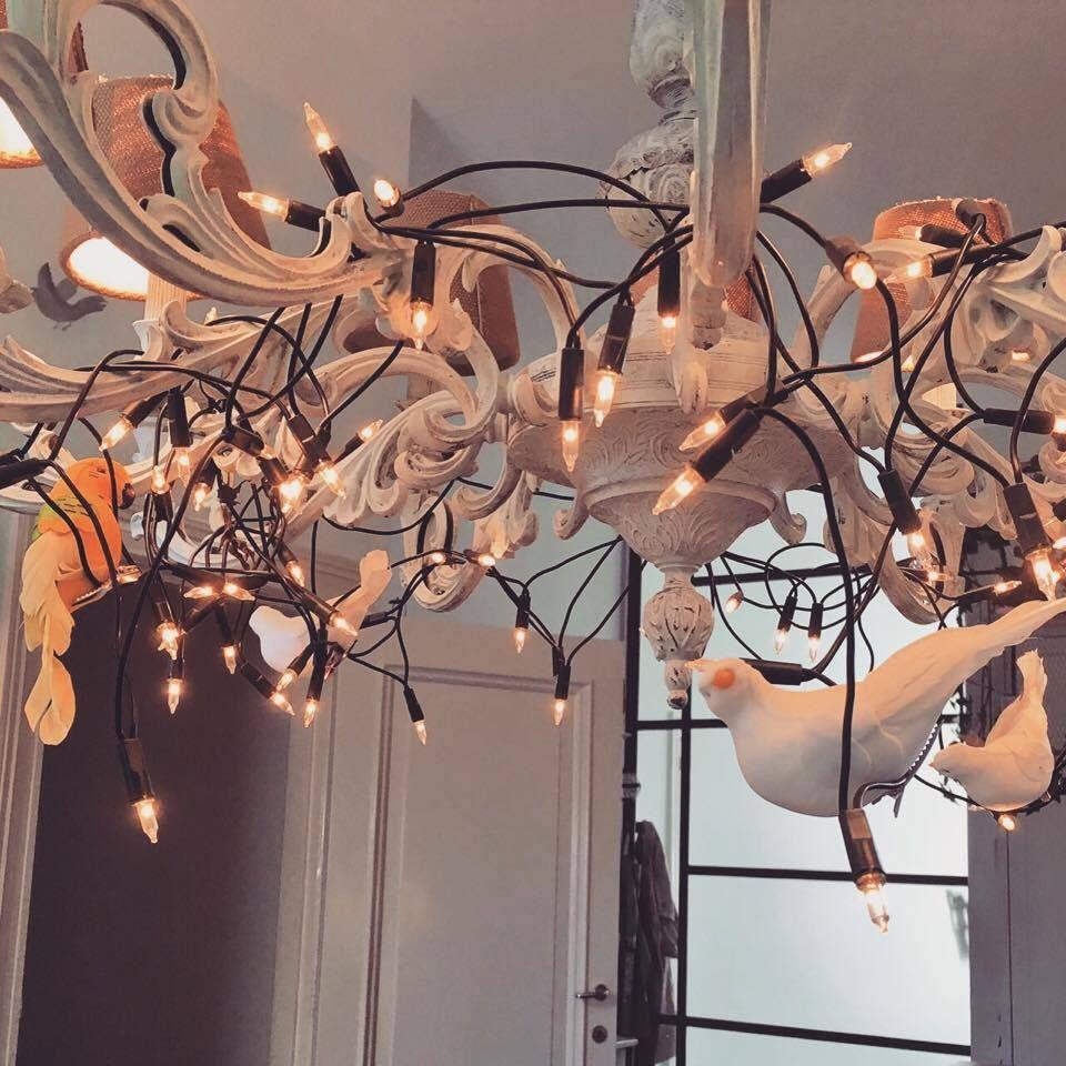DIY Birdcage chandelier lamp shade with artificial birds ...