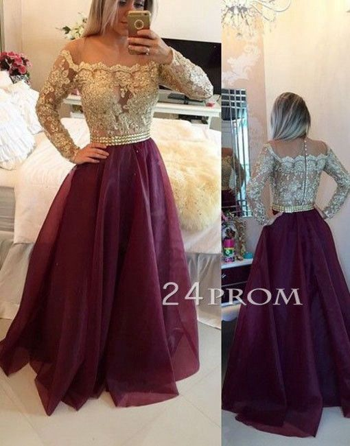 d2cd4c0d7d1bf 2019 New Lace Long Evening Dresses Sheer Illusion Applique Beaded ...