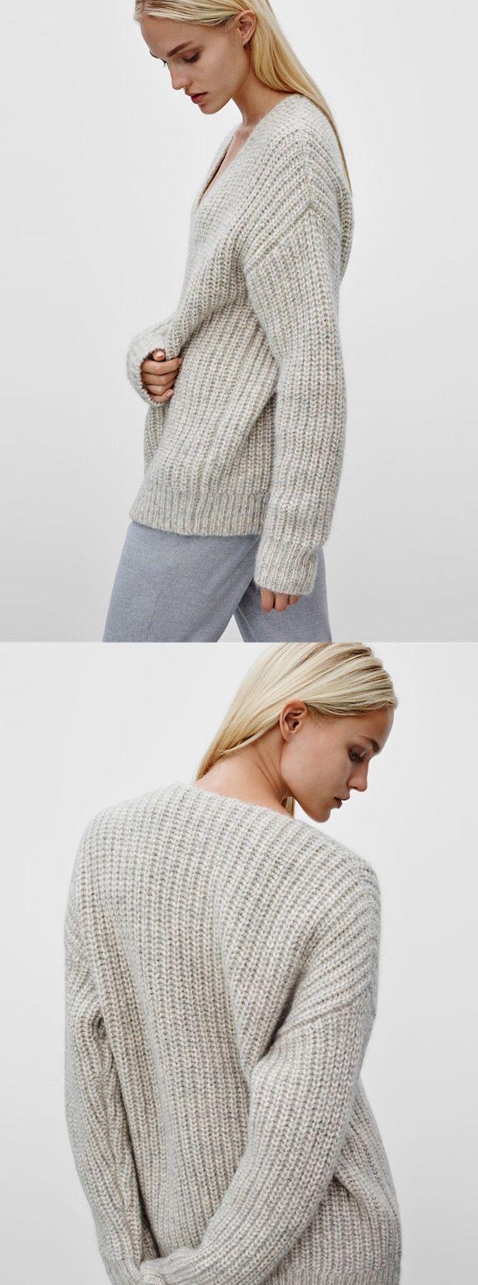 V-neck Cotton Medium Ivory Fluffy Plian Sweater | Ivory, Simple ...