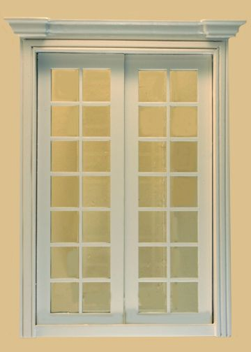 1//12scale Doll house Miniatures Exterior Wooden French Door White