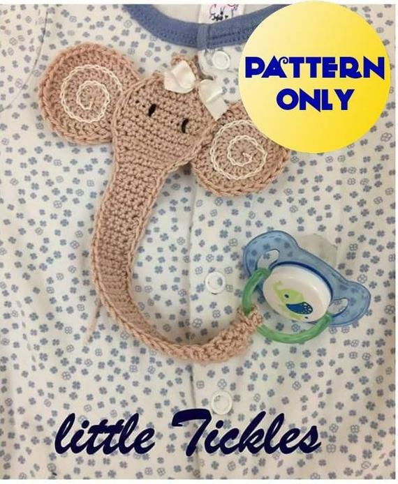 PDF Only - Crochet pattern Elephant Pacifier Holder / Binky Clip pattern / Pacifier Clip / Paci Clip #crochetelephantpattern