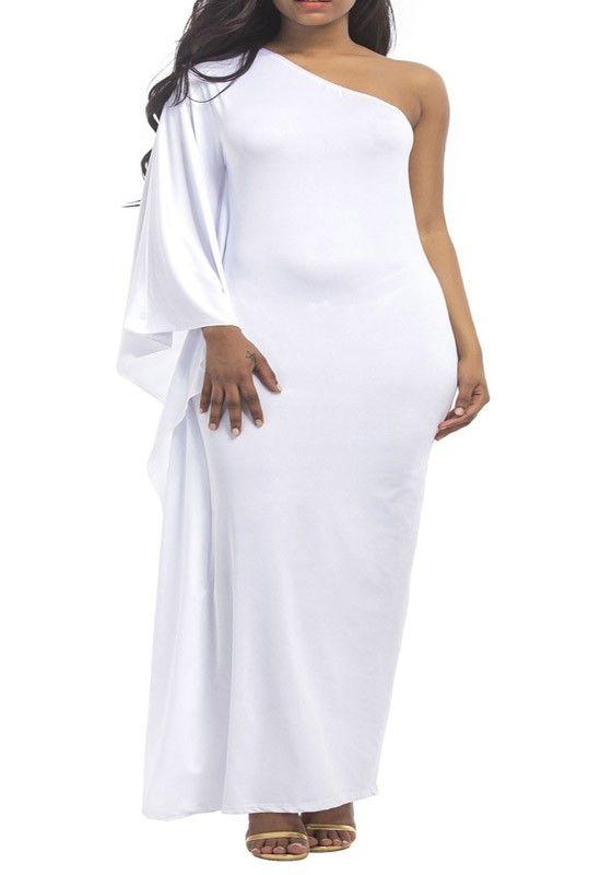 White Asymmetric Shoulder Draped Irregular One Shoulder Elegant Plus