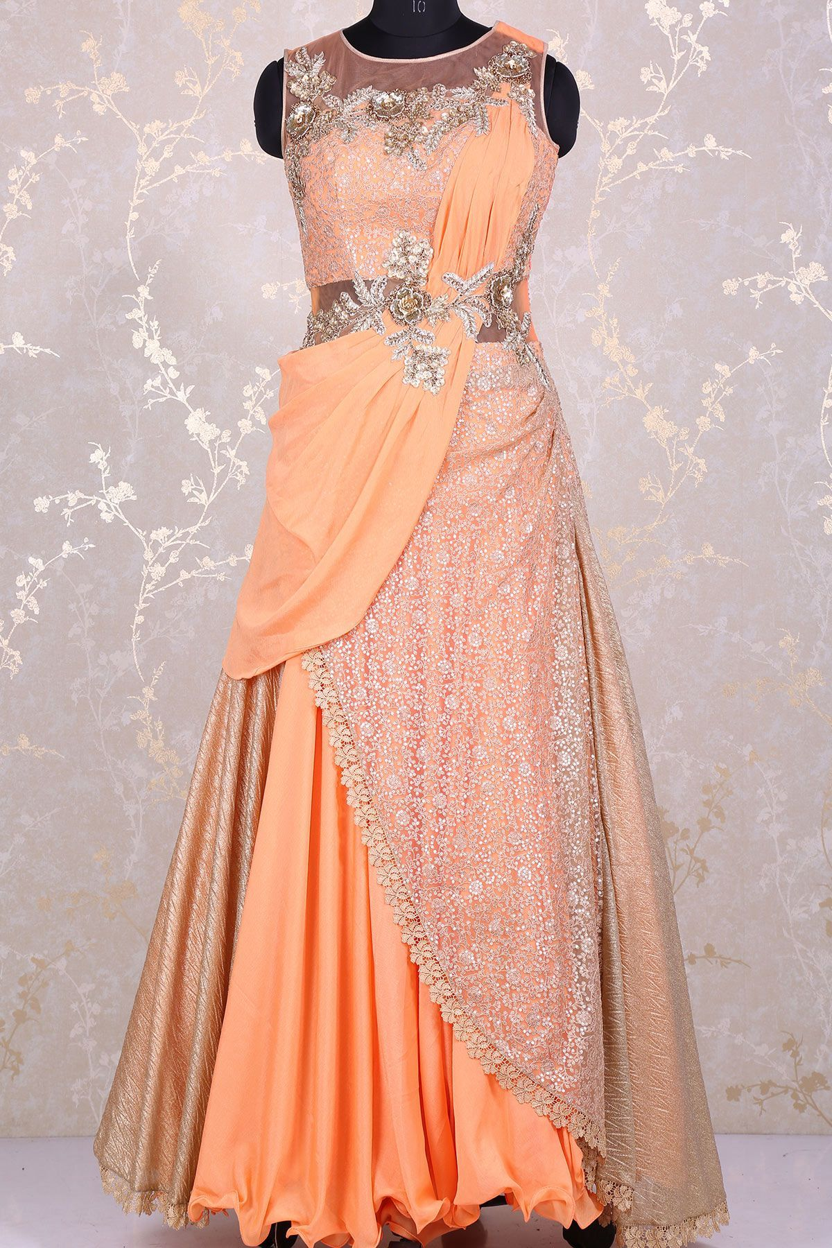 Peach exquisite net gown with d workgw gowns pinterest