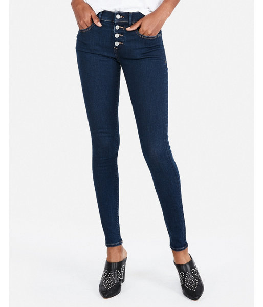 437a9a82f92 Mid Rise Button Fly Denim Perfect Stretch+ Jean Leggings