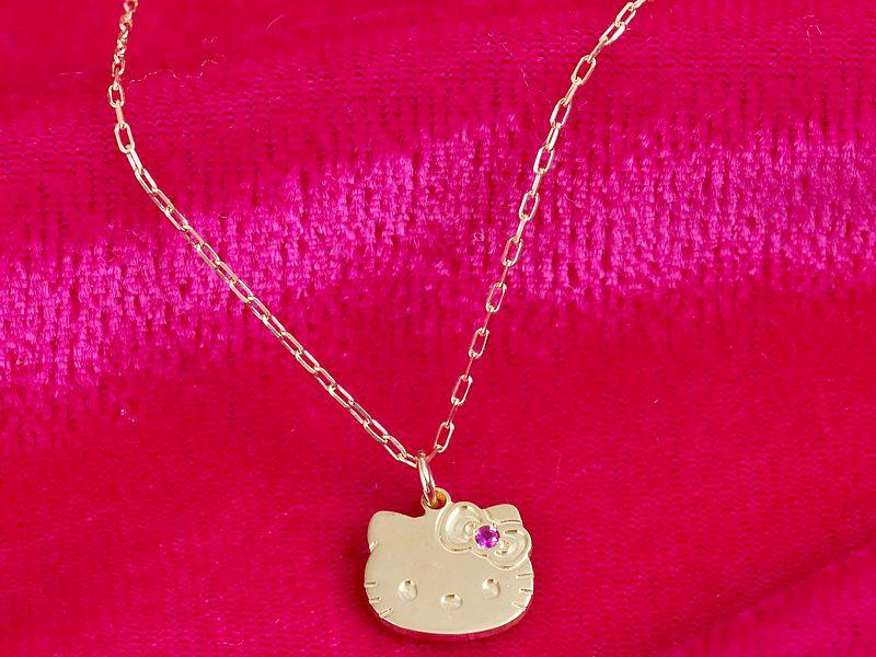 Hello Kitty10K Pendant Necklace w/ Ruby