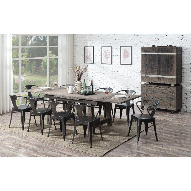 Reclaimed Pine 7 Piece Dining Room Set With Metal Chairs Dakota