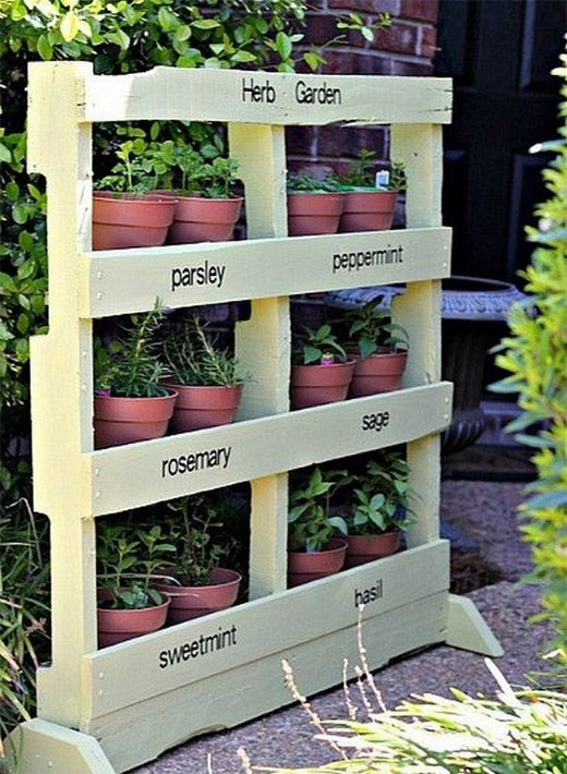 Diy Ideas Using Wood Pallets 3 Diy Home Creative Projects For Your Home Herb Garden Pallet Diy Herb Garden Vertical Herb Garden