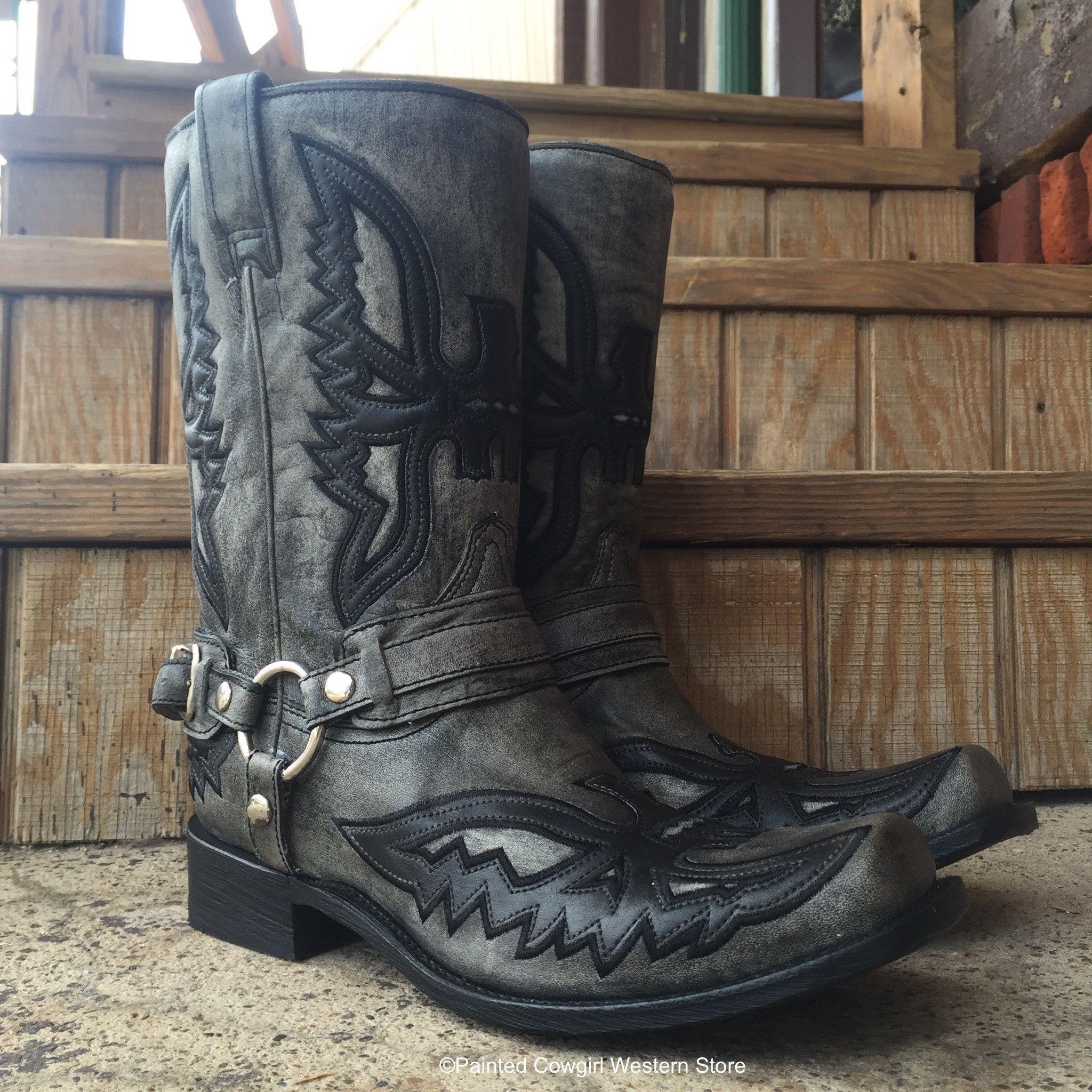 1e5bb346743 Corral Men's Black/Grey Shaded Eagle & Harness Square Toe Boot A3069 ...