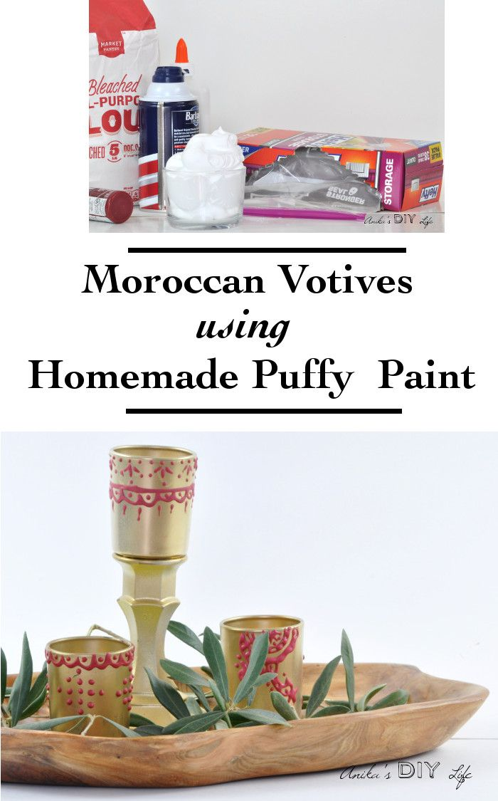 Moroccan Candle holders with Homemade Puffy Paint - Anika's DIY Life