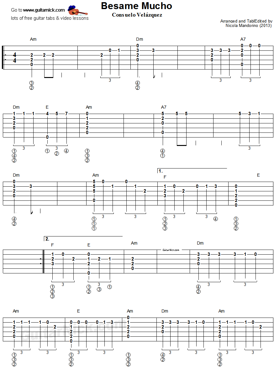 Italian Song Besame Mucho Fingerstyle Guitar Tablature 1 Songs