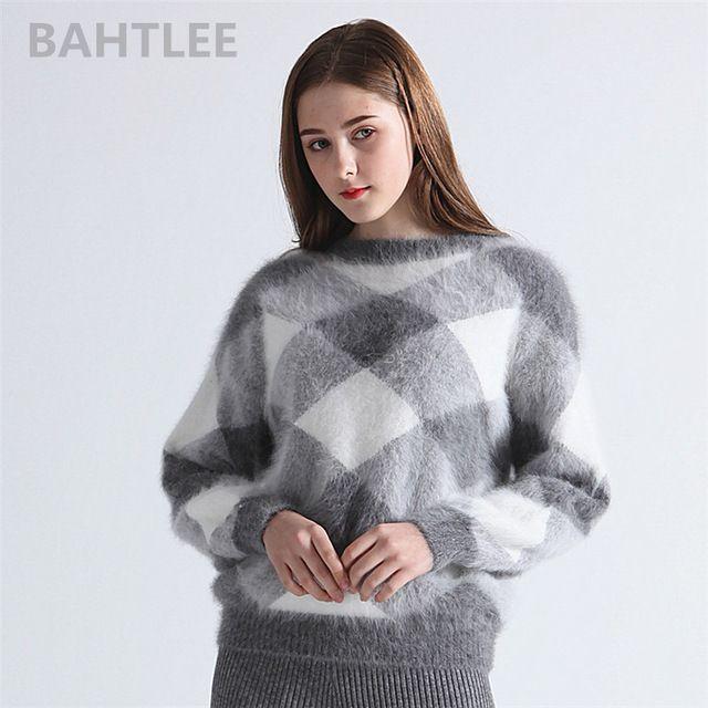 0396f852b728b BAHTLEE 2018 Autumn winter women s angora rabbit knitted lantern sleeve  pullovers sweater Colorblock Diamond geometry keep warm  women  style   winter   ...