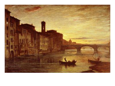 River Arno at Sunset Near Santa Trinità Bridge, Florence, Italy Giclee Print by Antonio Fontanesi - AllPosters.co.uk