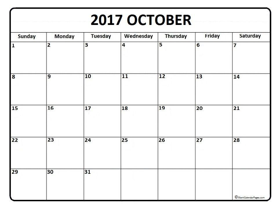 October Calendar  Printable And Free Blank Calendar
