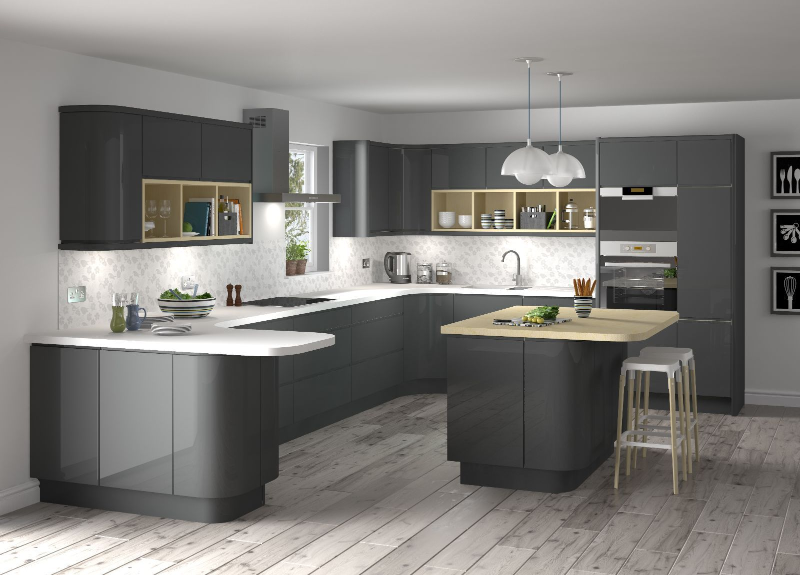 Image Of Grey Kitchen Ideas Gloss CabinetsGrey