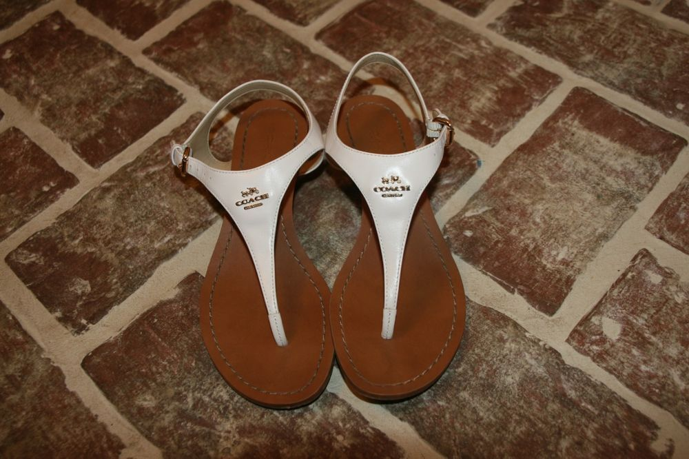 Wedge Leather Calf Shoes Vitalia Womens Thong Coach 6 Sandals Size 4LAR5j