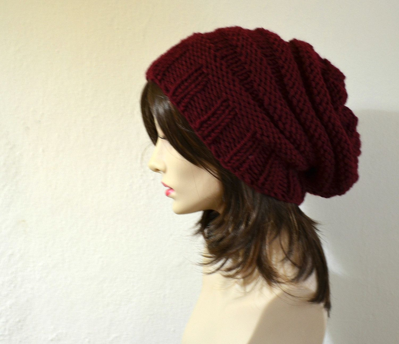 Burgundy Hand Knit Chunky Slouchy Women Hat Beanie e3568e26433