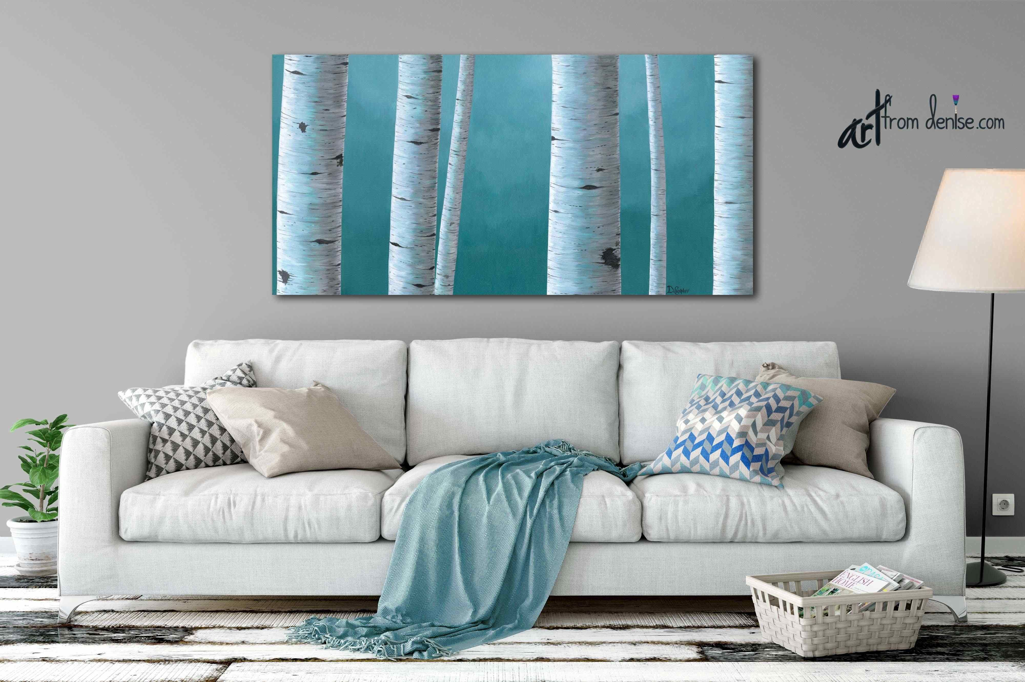 Teal blue birch tree art aspen long wide canvas blue minimalist