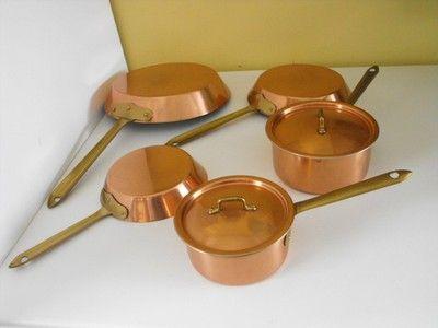 7 Piece Copper Cookware Set Copper Pots Pans Lids Tin