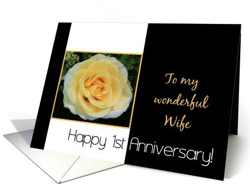 St wedding anniversary card for wife yellow rose card my
