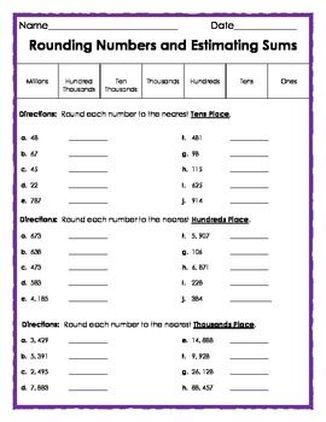 FREE Rounding Numbers and Estimating Sums - This lesson requires ...