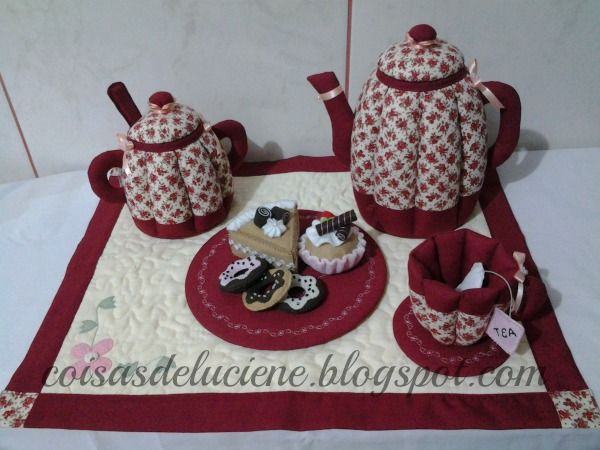 conjunto de chá em patchwork
