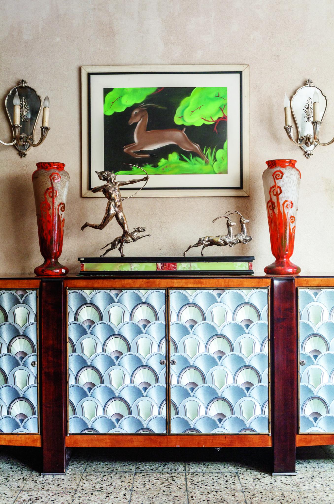 Par de apliques de bronce plateados 1920 francia par de floreros le verre decoraci n helechos - Apliques de bronce para muebles ...