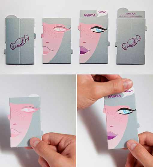 Interactive Image Changing Business Card For A Make Up Artist Graphic Design Business Card Business Card Gallery Name Card Design
