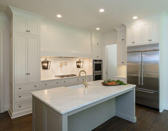 clean painting kitchen cabinets white | Clean lined kitchen. Cabinet Perimeter Paint Color: Shoji ...