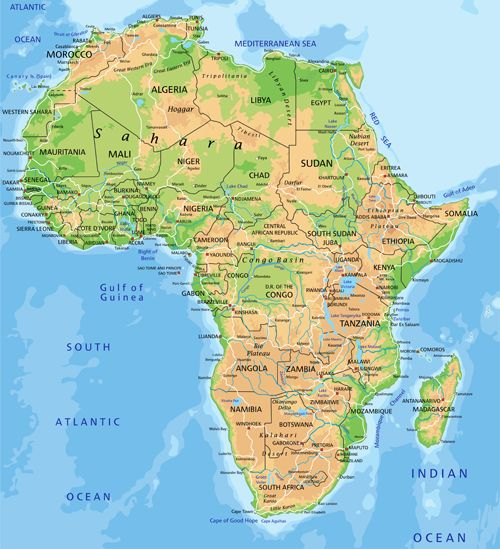 Africa physical map vector graphics mapas y banderas vector africa physical map vector graphics gumiabroncs Gallery